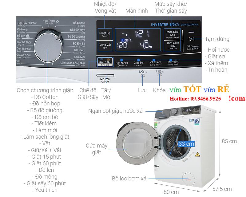 Bảng điều khiển máy giặt sấy Electrolux EWW8023AEWA