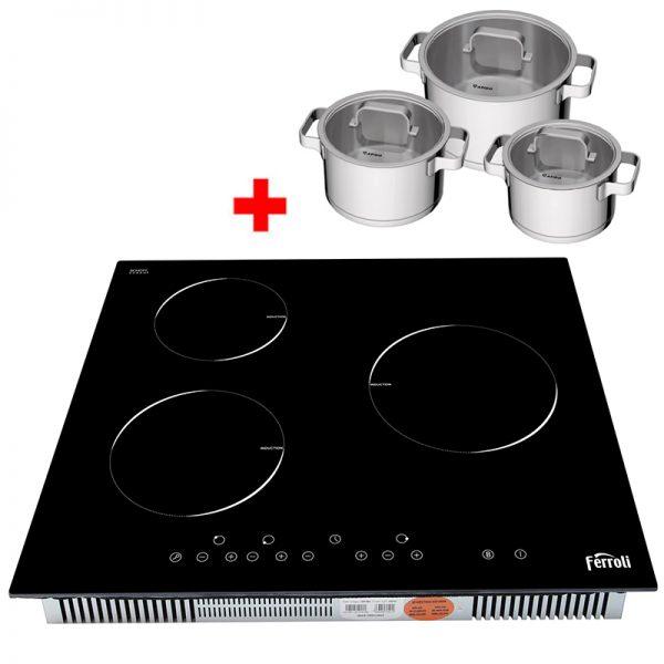 Bếp từ ba Ferroli IC6600BN tặng 3 nồi inox