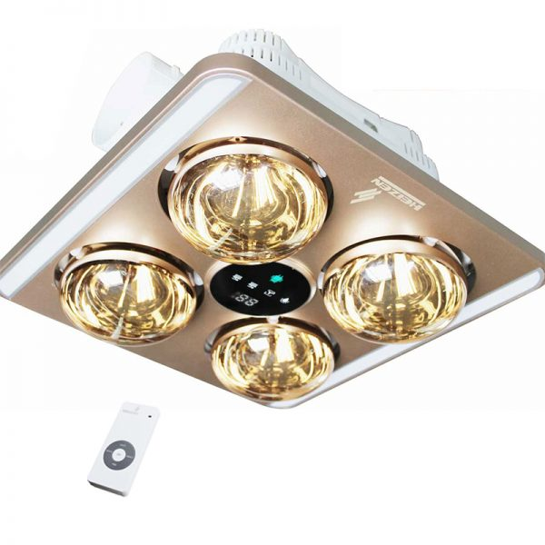 Đèn sưởi nhà tắm 4 bóng âm trần điều khiển từ xa Heizen HE9