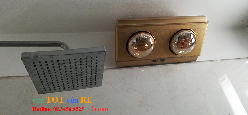 Hình ảnh lắp đặt thực tế đèn sưởi nhà tắm 2 bóng treo tường điều khiển từ xa Heizen HE2BR – 09.3456.9525