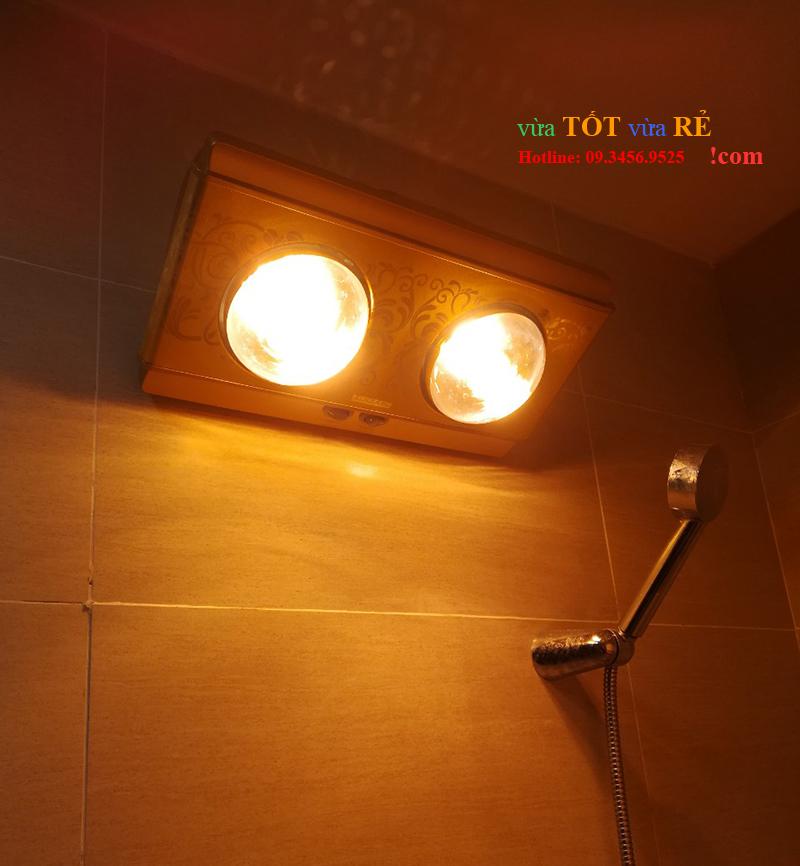 Hình ảnh lắp đặt thực tế đèn sưởi nhà tắm 2 bóng Heizen - 09.3456.9525