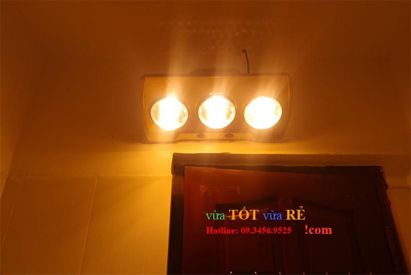 Hình ảnh lắp đặt thực tế đèn sưởi nhà tắm 3 bóng Heizen - 09.3456.9525