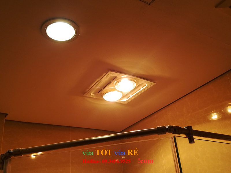 Hình ảnh lắp đặt thực tế đèn sưởi nhà tắm 2 bóng âm trần Kottmann - 09.3456.9525