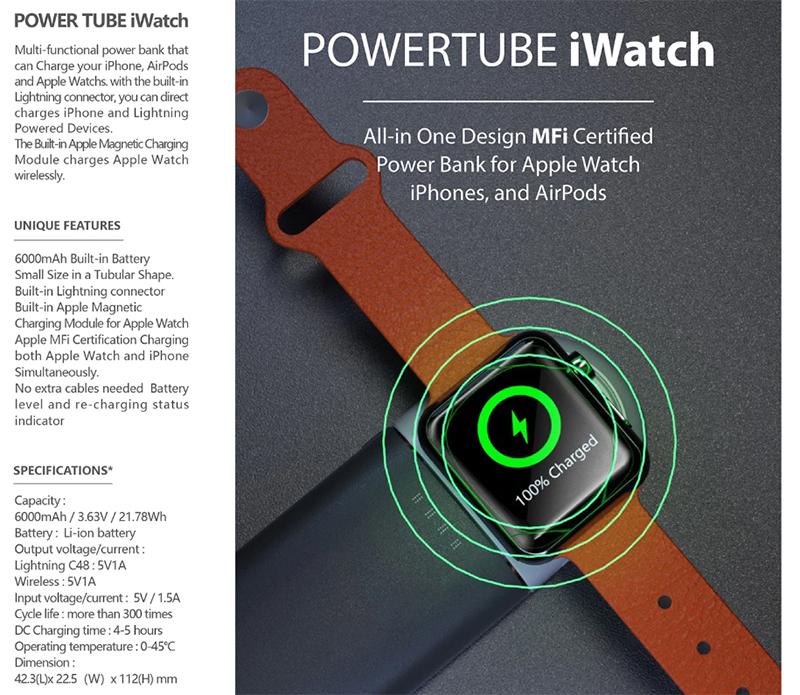 Pin sạc dự phòng không dây Mipow USA PowerTube iWatch