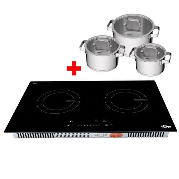 Bếp từ đôi Ferroli ID4000BN tặng 3 nồi inox