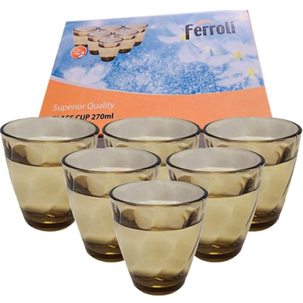 Bộ 6 cốc thủy tinh 270ml Ferroli