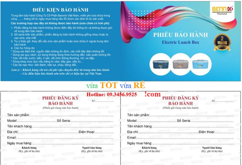 Phiếu bảo hành hộp cơm điện Bennix Thái Lan BN-88I - 09.3456.9525