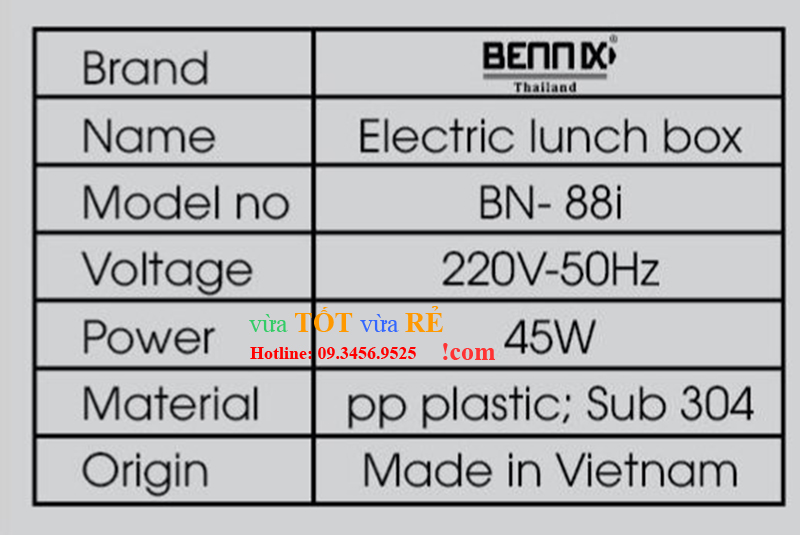 Thông số hộp cơm điện Bennix Thái Lan BN-88I - 09.3456.9525